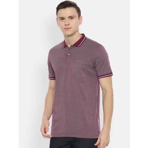 Van Heusen Sport Men Maroon Self Design Polo Collar T-shirt