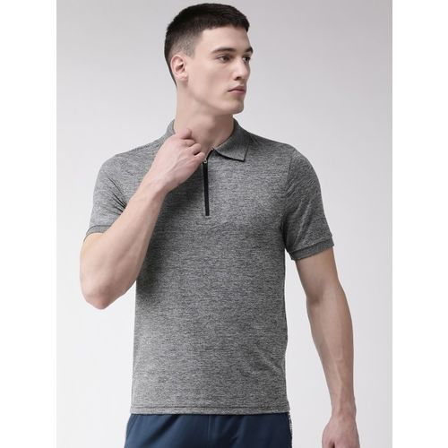Alcis Men Charcoal Grey Self Design Polo Collar T-shirt