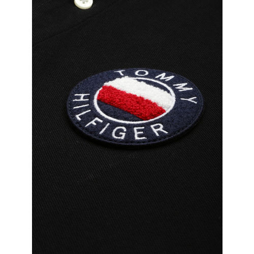 Tommy Hilfiger Men Black Solid Slim Fit Polo Collar T-shirt