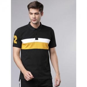 Ecko Unltd Men Black & Mustard Yellow Colourblocked Polo Collar Slim Fit T-shirt