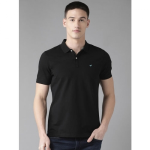 Blackberrys Men Black Solid Polo Collar T-shirt