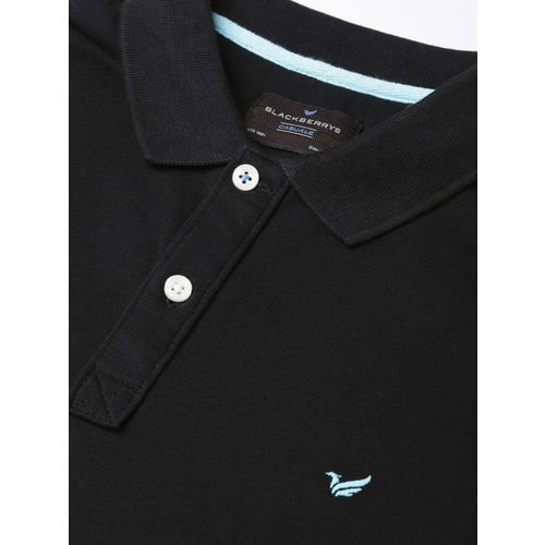 Blackberrys Men Black Solid Polo Collar T-shirt