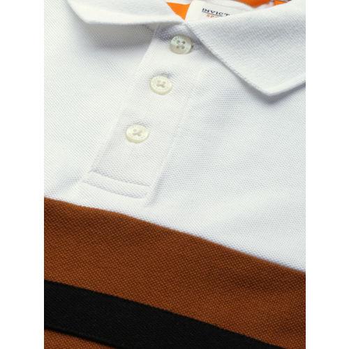 INVICTUS Men White Striped Slim Fit Polo Collar T-shirt