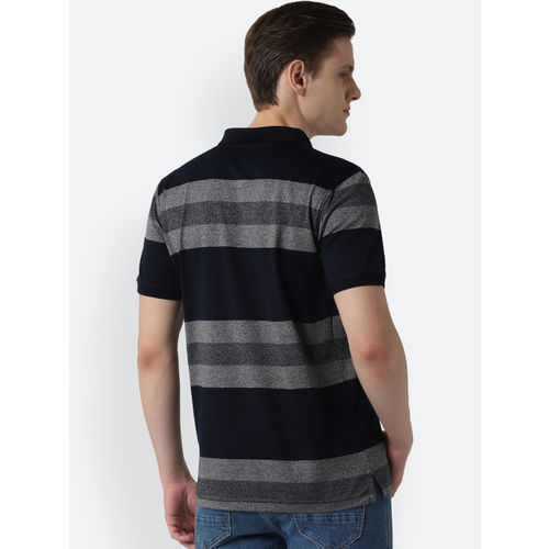 Peter England Casuals Men Navy Blue & Grey Striped Polo Collar T-shirt