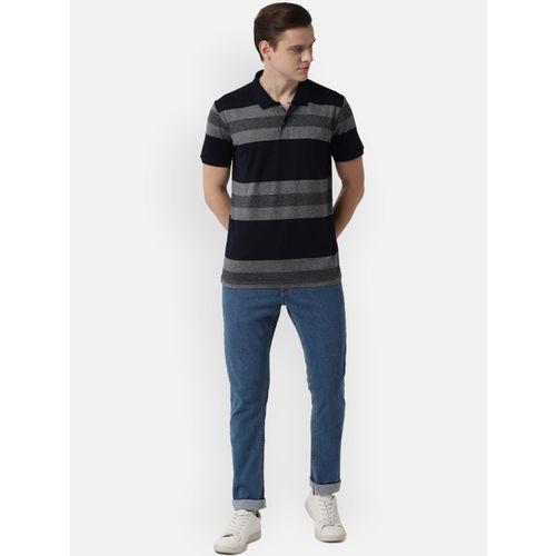 Peter England Casuals Men Navy Blue & Grey Striped Polo Collar T-shirt