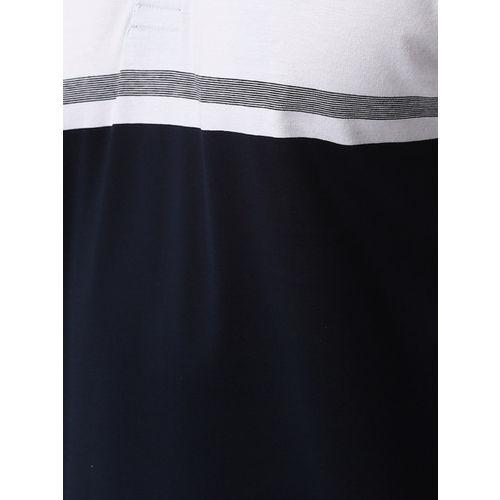 Peter England Casuals Men Navy Blue & White Colourblocked Polo Collar T-shirt
