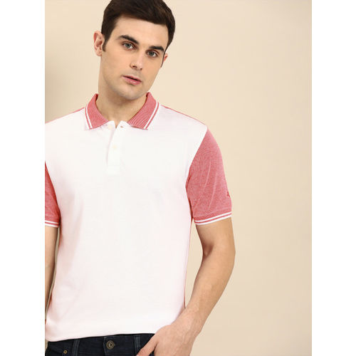 ether Men Red & White Solid Polo Collar T-shirt
