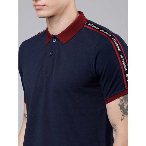 Ecko Unltd Men Navy Blue Printed Polo Collar Slim Fit T-shirt
