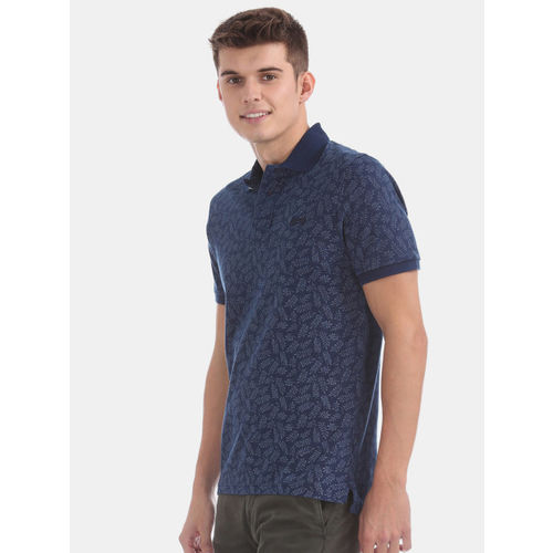 Aeropostale Men Blue Printed Polo Collar T-shirt