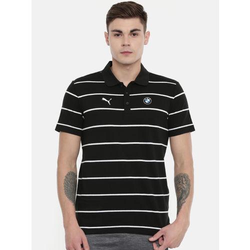 Puma Men Black Striped Bmw Mms Polo Collar T-shirt