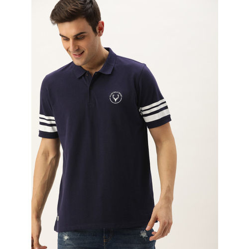Allen Solly Sport Men Navy Blue Striped Polo Collar T-shirt