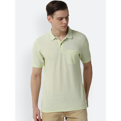 Peter England Casuals Men Lime Green Solid Polo Collar T-shirt
