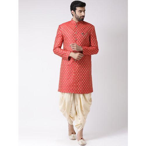 KISAH Men Red & Beige Printed Sherwani Set
