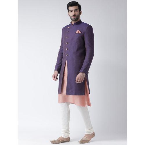 KISAH Men Purple & Pink Sherwani Set