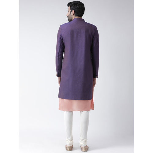 KISAH Men Purple & Pink Sherwani Set