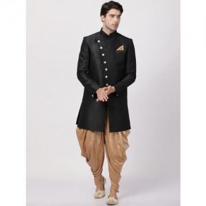 VASTRAMAY Men Black & Gold-Toned Solid Silk Sherwani With Dhoti Pants