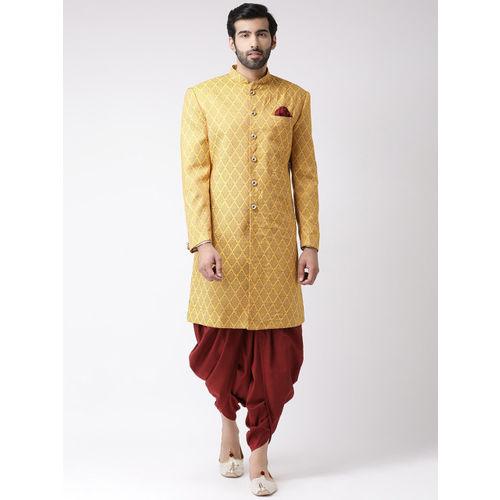 KISAH Men Yellow & Maroon Printed Sherwani Set