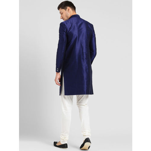 KISAH Men Blue & Off-White Sherwani Set