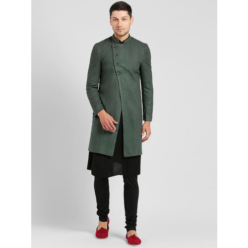 KISAH Men Green & Black Sherwani Set