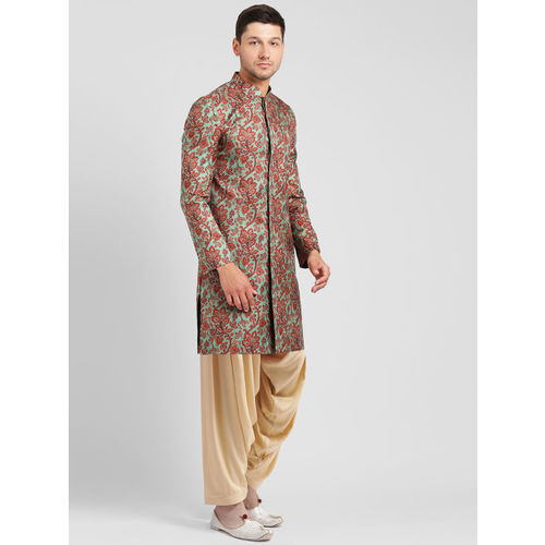 Kisah Men Green & Red Printed Silk Sherwani Set