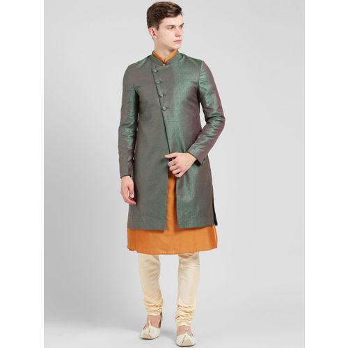 KISAH Men Green & Cream-Coloured Sherwani Set
