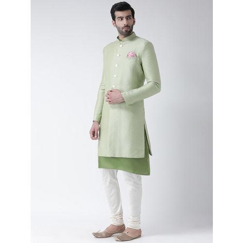KISAH Men Green & White Sherwani Churidar Set