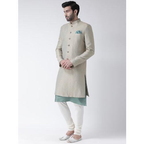 KISAH Men Green & Beige Sherwani Churidar Set