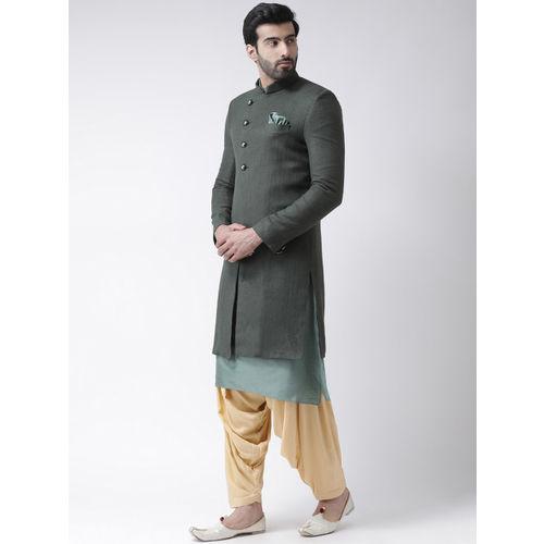 KISAH Men Green & Beige Solid Bhagalpuri Silk Sherwani With Patiala