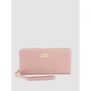 DressBerry Women Pink Textured Zip Around Wallet