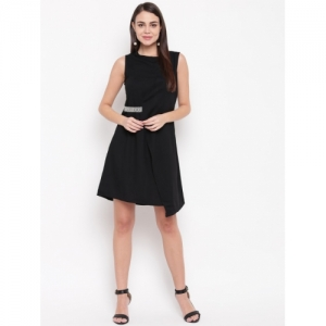 RARE Black Polyester Solid Wrap Dress