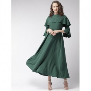 U&F Green Polyester Solid Layered Maxi Dress
