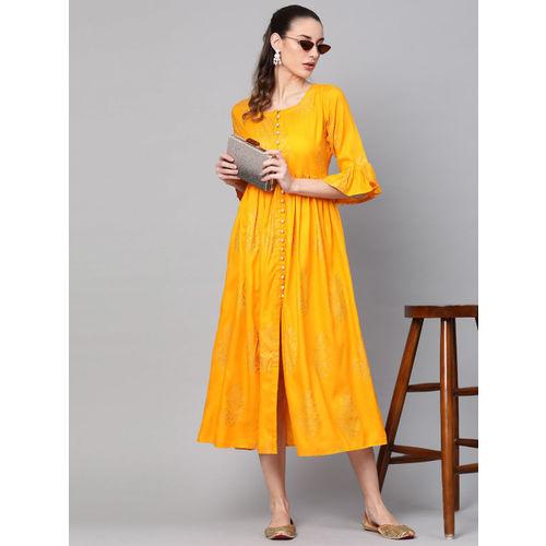 Libas Women Yellow & Golden Block Print Maxi Dress
