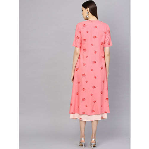 Libas Women Peach-Coloured & Maroon Printed Layered A-Line Dress