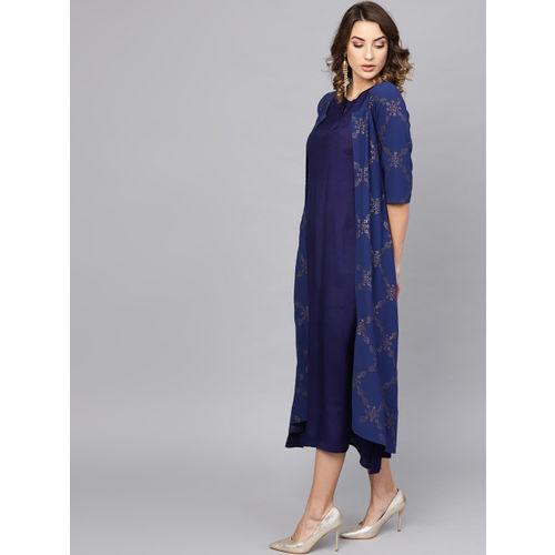 Libas Women Navy Blue Layered Solid A-Line Dress