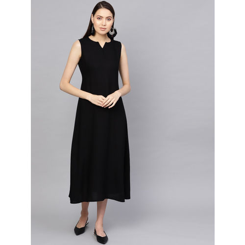 Libas Women Black Solid Layered A-Line Dress