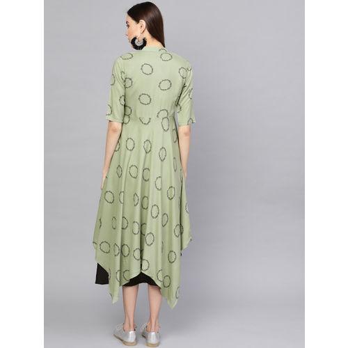 Libas Women Black & Green Solid Layered A-Line Dress