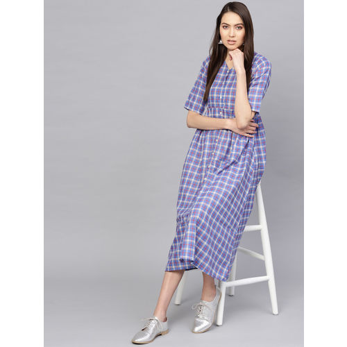 Libas Women Blue Checked A-Line Dress