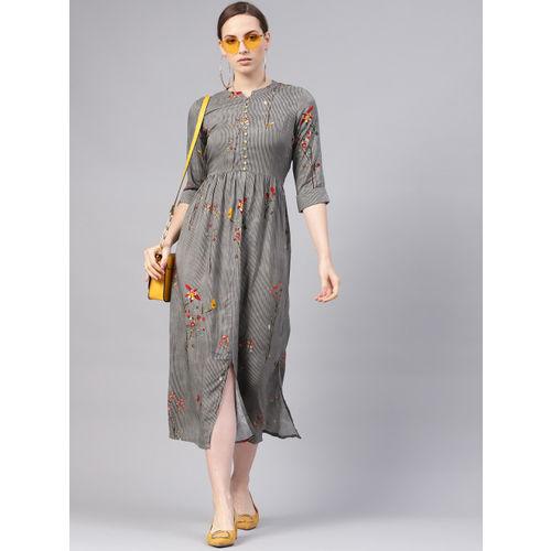 Libas Women Grey & Navy Blue Striped Maxi Dress