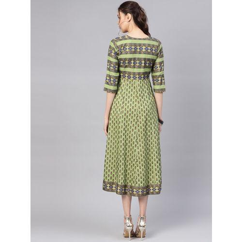 Libas Women Green & Golden Block Print Maxi Dress