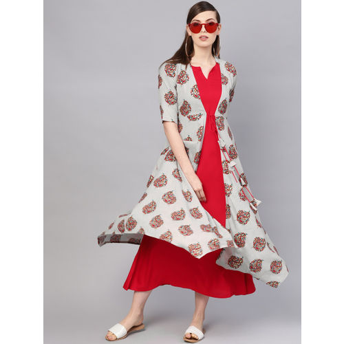 Libas Women Red Solid Maxi Dress with Ethnic Jacket