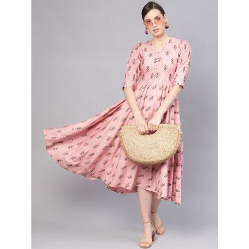 Libas Women Pink & Black Printed Maxi Dress
