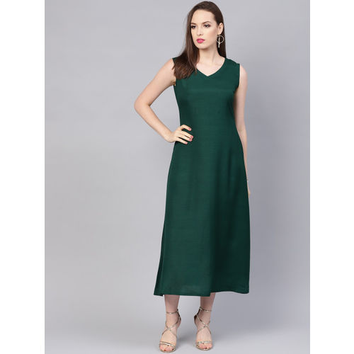 Libas Women Green Solid A-Line Dress with Ethnic Jacket