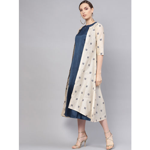 Libas Women Navy Solid Maxi Dress with Ethnic Jacket