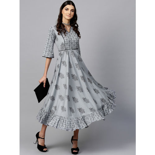 Libas Women Grey & Black Printed A-Line Dress