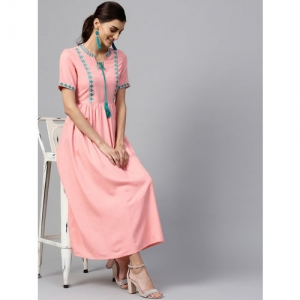 Libas Women Pink Solid Maxi Dress with Embroidered Detail