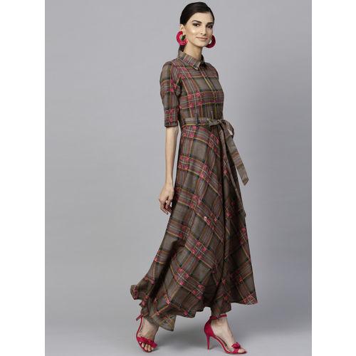 Libas Women Brown Checked Maxi Dress