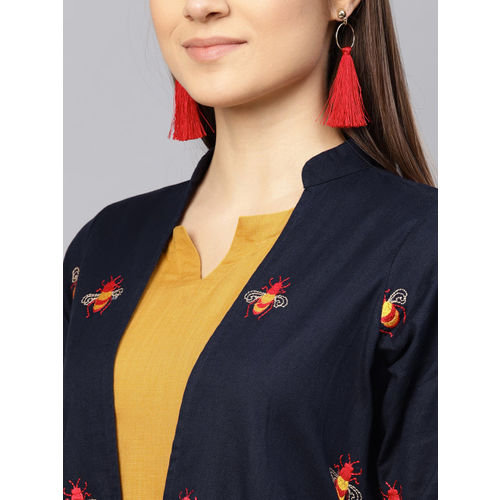 Libas Women Navy Blue & Mustard Yellow Solid Maxi Dress with Ethnic Jacket