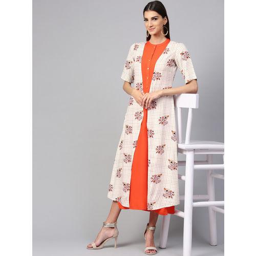 Libas Women Orange & Off-White Printed A-Line Dress With Shrug