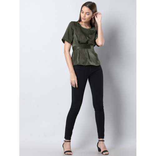 FabAlley Green Polyester Solid A-Line Top