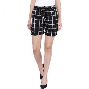 Pratyusha Checkered Women Black Regular Shorts